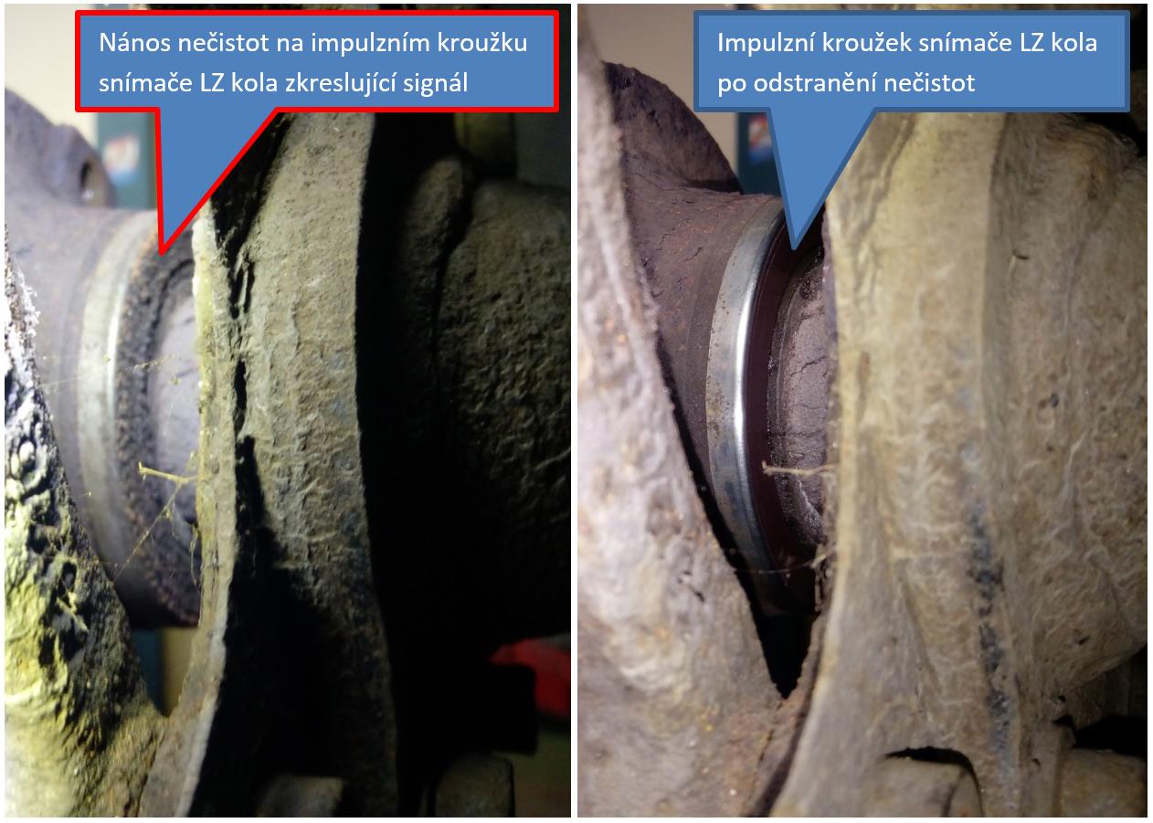 Pohled na impulzní kroužek snímače otáček LZ kola před a po očištění
