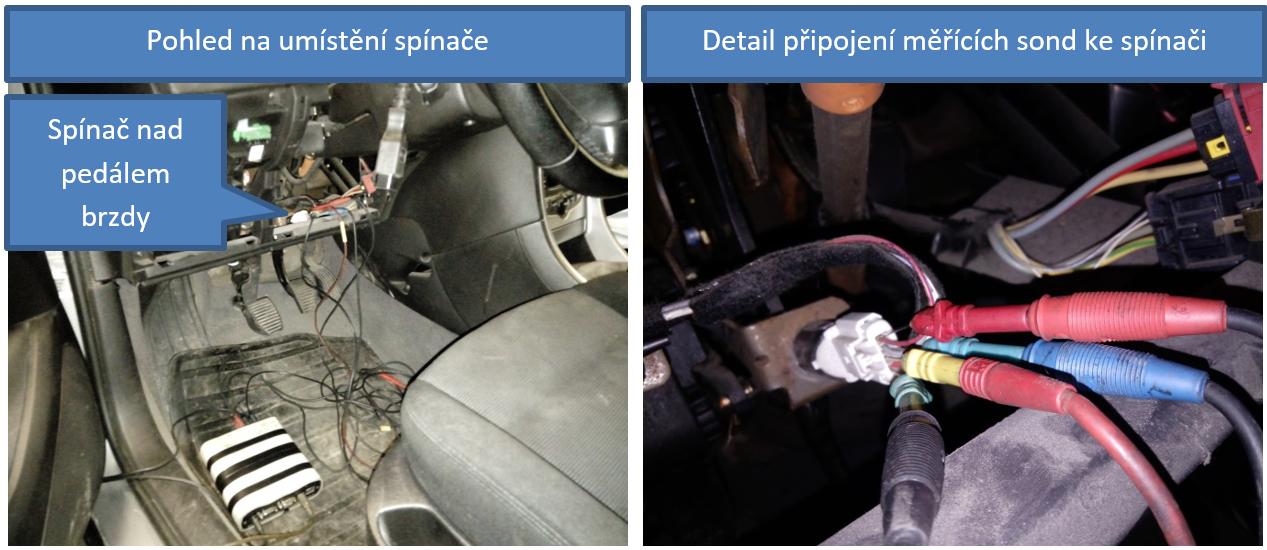 Zástavba brzdového spínače a připojení sond osciloskopu