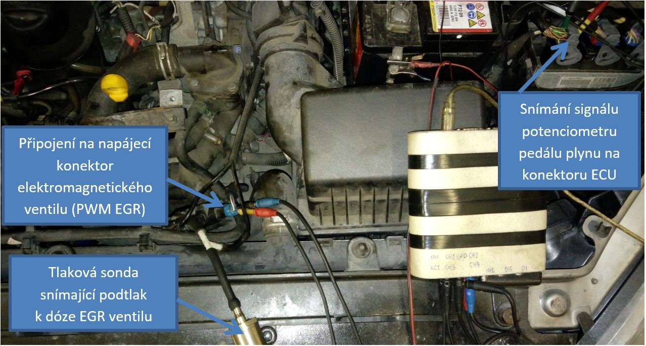 Připojení osciloskopu při měření elektromagnetického ventilu EGR (PWM EGR)