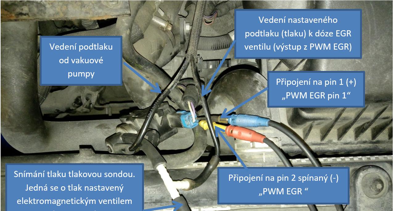 Detail připojení měřících sond osciloskopu na elektromagnetický ventil EGR