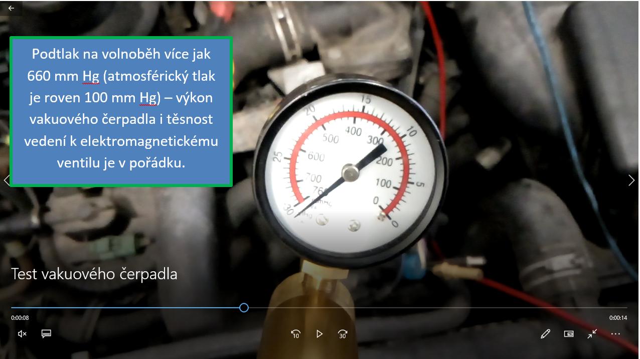 Kontrola výkonu vakuového čerpadla