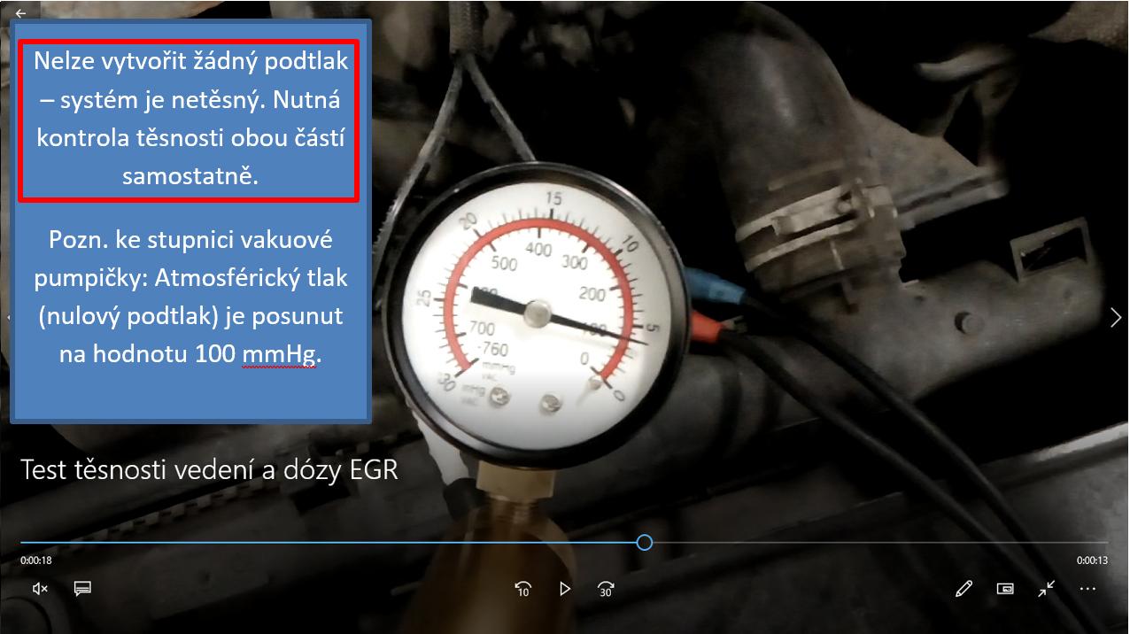Test těsnosti pneumatického vedení a membránové dózy EGR ventilu