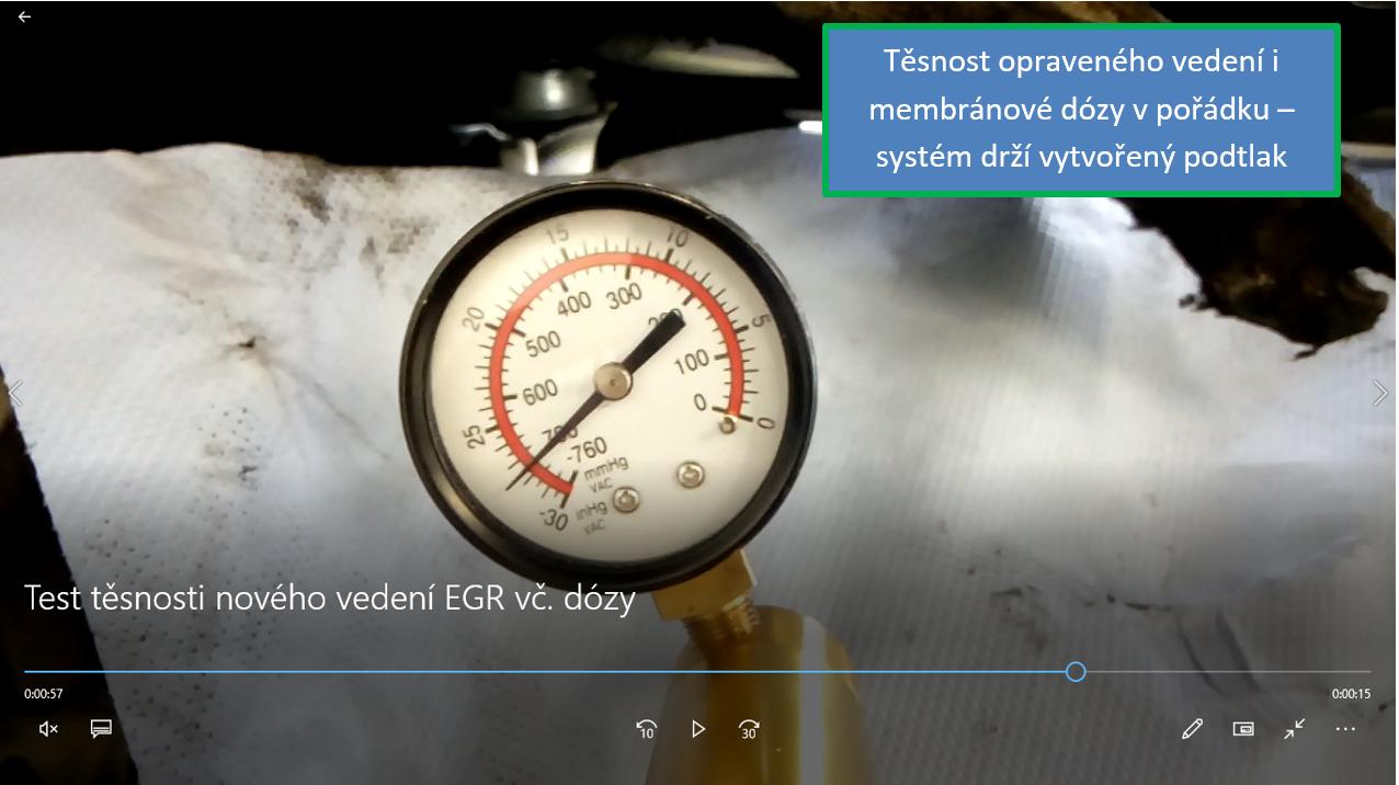 Kontrola těsnosti membránové dózy EGR ventilu