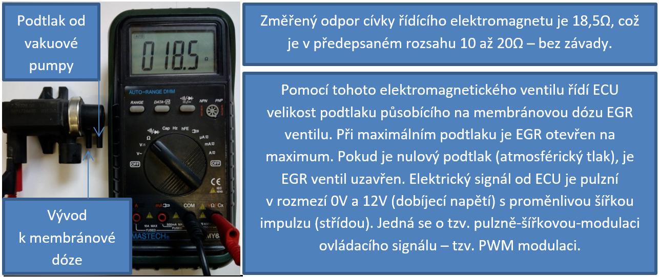 Kontrola odporu cívky elektromagnetického (PWM) ventilu EGR