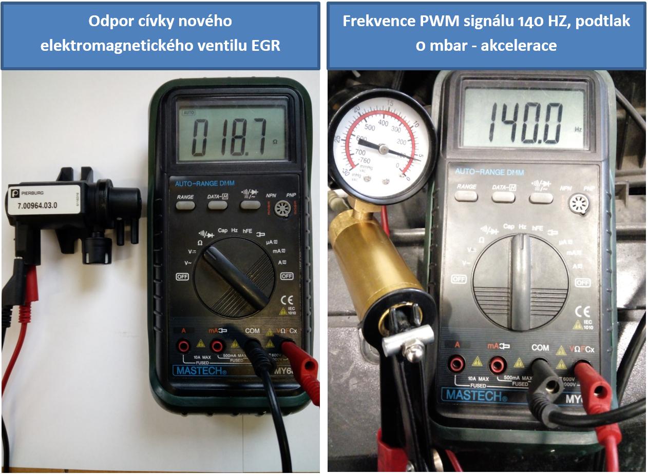 Hodnoty změřené na novém elektromagnetickém (PWM) ventilu EGR při akceleraci
