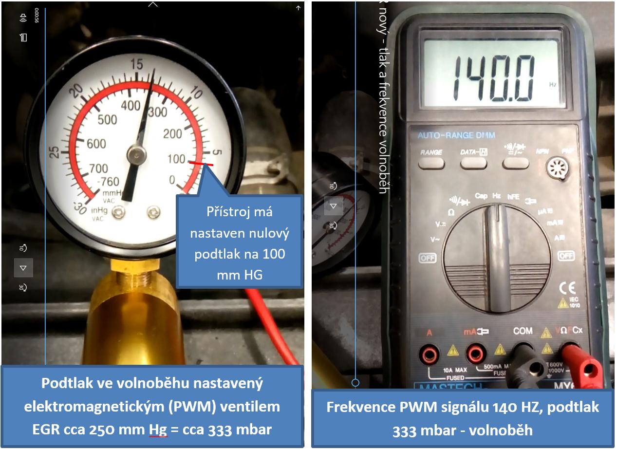 Hodnoty změřené na novém elektromagnetickém (PWM) ventilu EGR ve volnoběhu