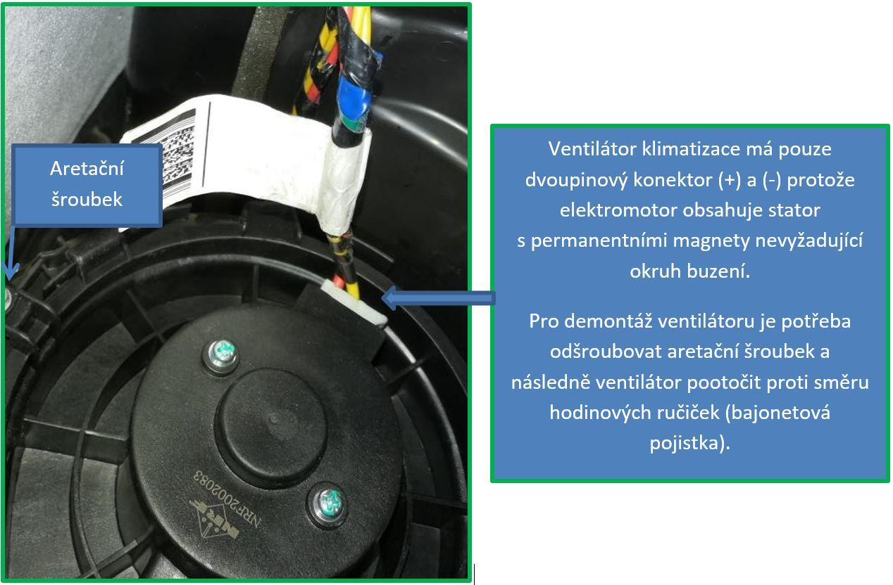 Detail zástavby ventilátoru klimatizace M3.2 – pohled ze strany řidiče