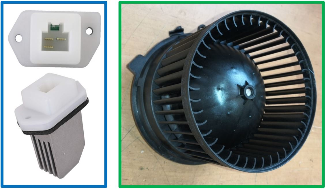Detaily demontované odporové dekády A5.27 a ventilátoru klimatizace M3.2