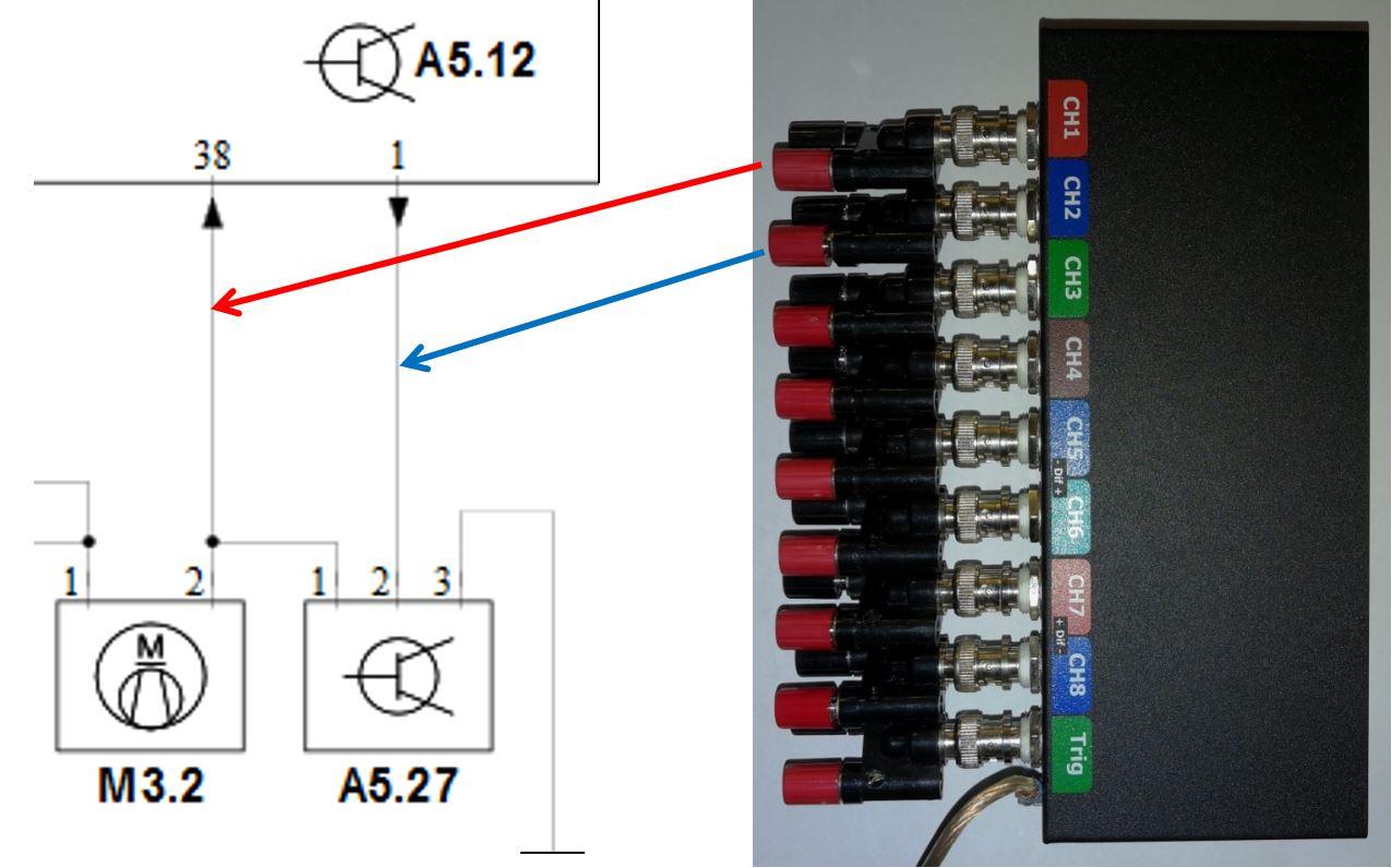 Připojení kanálů osciloskopu k ECU AT